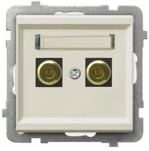 Розетка Ospel GGN-1R/m/27 для динамиков, одинарная, экрю