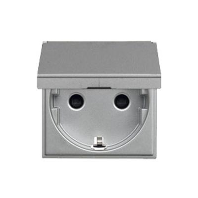 Розетка ABB N2288.1 PL 2CLA228810N1301 с заземлением, со шторками, с крышкой, 16А, 250В, IP20 (серебро)