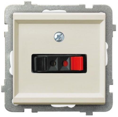 Розетка Ospel GG-1R/m/27 для динамиков, одинарная, подключаемость проводов 0, 75мм2, экрю
