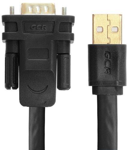 конвертер-переходник GCR GCR-UOC5M-BCG-3.0m , 3.0m плоский, черный, позолоченные коннекторы, 28/26 AWG, USB 2.0 AM / DB9 RS-232 PRO, чипсет PL2303RA
