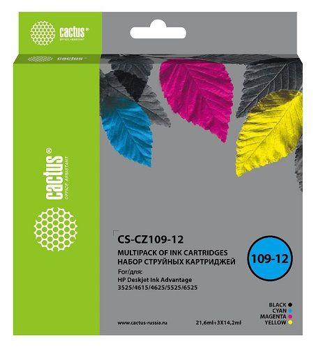 Фото - Картридж Cactus CS-CZ109-12 черный/голубой/желтый/пурпурный (64.2мл) для HP DJ IA 3525/5525/4525 картридж hp cz102ae 650 цветной dj ia 2615 200стр