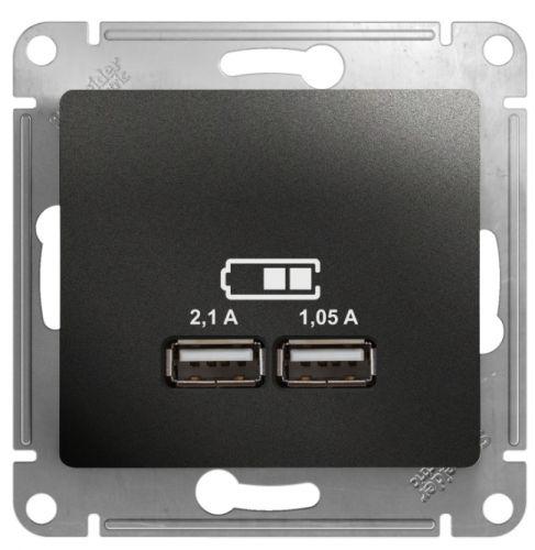 Розетка Schneider Electric GSL000733 Glossa USB 5В/2100мА, 2х5В/1050мА антрацит