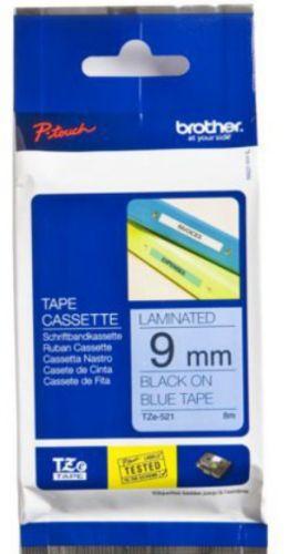 Наклейка Brother TZE521 Наклейка ламинированная TZ-E521 (9 мм черн/син, TZ-521) наклейка