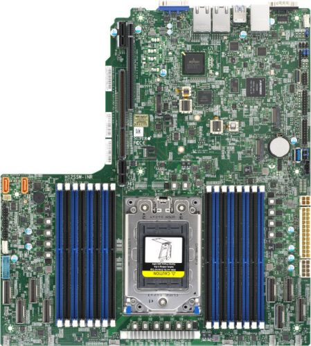 Материнская плата Supermicro MBD-H12SSW-INR-O (SP3, 16*DDR4(3200), 13.4x12.29, 2*SATA 6Gb/s, 16*SATA/4*NVMe, 2*M.2, 2*PCIE, 2*Glan, 7*USB 3.0, VGA, материнская плата supermicro mbd x12sae o lga1200 w480 4 ddr4 2933mhz 4 sata 6gb s raid 2 m 2 2 5glan glan 5 pcie 7 usb 3 2 usb type c 2