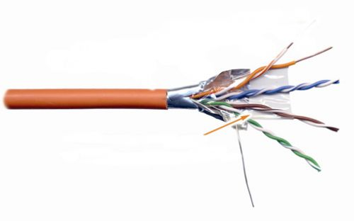 Фото - Кабель витая пара F/UTP 5e кат. 4 пары Lanmaster LAN-5EFTP-LSZH (200Mhz), LSZH , оранжевый (305 м) кабель витая пара u utp 5e кат 4 пары lanmaster lan 5eutp pt lszh lszh оранжевый 305м в кат