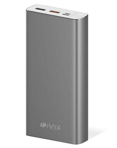 Аккумулятор внешний универсальный HIPER MPX20000 20000mAh, 2 USB, 3A+3A+2.4A, серый внешний аккумулятор hiper power bank mpx20000 20000mah gold
