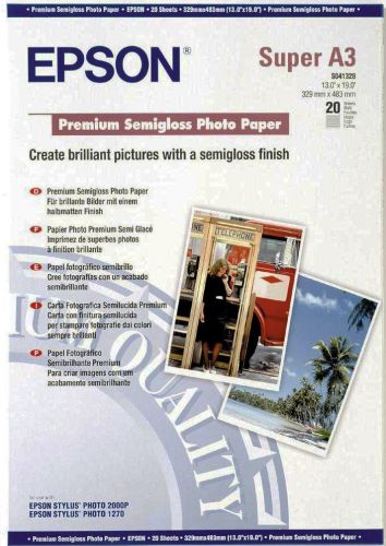 Фотобумага Epson C13S041334 Высококачественная полуглянцевая фотобумага с полимерным покрытием A3,20 листов, 251 г/м2