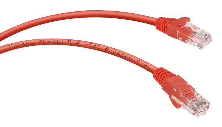 Cabeus PC-UTP-RJ45-Cat.6-0.3m-RD