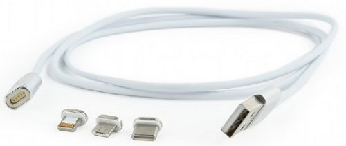 Кабель интерфейсный USB 2.0 Cablexpert CC-USB2-AMLM31-1M магнитный, AM/TypeC - microBM 5P - iPhone lightning