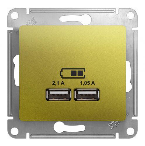 Розетка Schneider Electric GSL001033 Glossa Фисташковая USB 5В/2100мА, 2х5В/1050мА