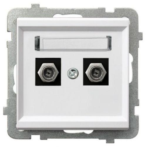Розетка Ospel GPA-2RF/m/00 телевизионная типа F, двойная, белый