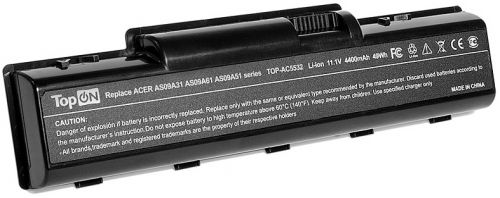 Аккумулятор для ноутбука Acer TopOn TOP-AC5532 к серии Aspire 4732, 5334, 5516, eMachines D525, D725, E525 Series. 11.1V 4400mAh 49Wh. PN: AS09A31, AS