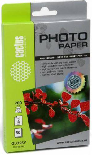 Фотобумага Cactus CS-GA620050 200г/м2/50л./белая, глянцевая для струйной печати фотобумага cactus cs ga623050ed 10x15 230г м2 50л белый глянцевая для струйной печати