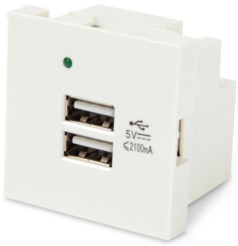 Модуль Hyperline M45-USBCH2-WH розетки USB для зарядки, 2 порта, 2М, 4.2А, 5В, 45x45мм, белый