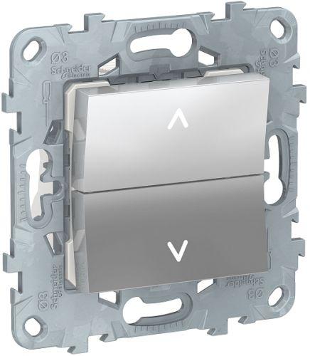 Фото - Выключатель Schneider Electric NU520730 UnicaNew, алюминий, для жалюзи, 2-клавишный, без фиксации, 2 х сх.4 выключатель schneider electric nu520118 unicanew белый 1 клавишный сх 1 10 ax 250в