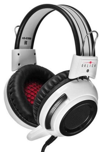 Гарнитура проводная Oklick HS-G300 ARMAGEDDON AH-V1W белый/черный, 2.3 м, мониторы, оголовье