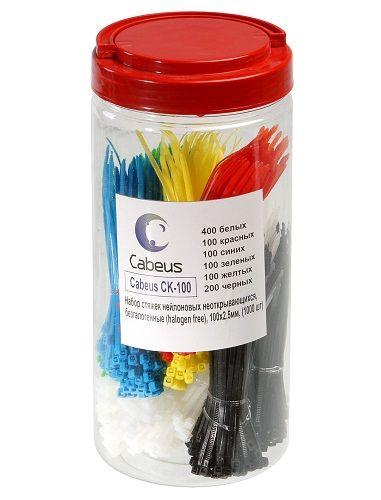 Стяжки Cabeus CK-100 нейлон, неоткрывающиеся, безгалогенные (halogen free), 100x2.5мм, (400 белых + 100 красных + 100 синих + 100 зеленых + 100 желтых