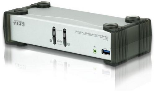 Переключатель KVM Aten CS1912-AT-G электрон., KVM+Audio+USB 3.0, 1 user USB+DP => 2 cpu USB+DP, со шнурами DP 2x1.5м.+USB 2х1.8м., 3840x2160 30Hz, нас