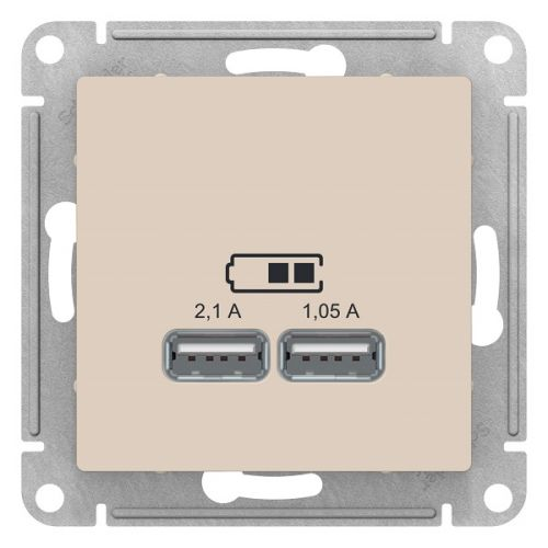 Розетка Schneider Electric ATN000233 AtlasDesign, USB, 5В, 1 порт x 2.1 А, 2 порта х 1.05 А, механизм, бежевая