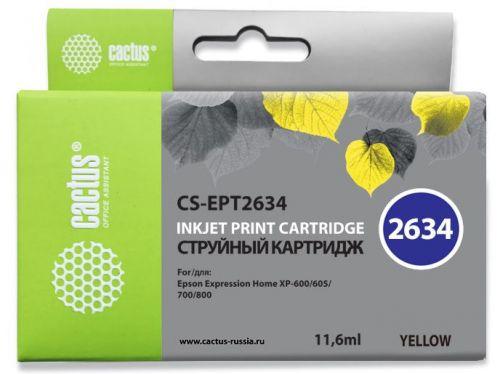 Фото - Картридж Cactus CS-EPT2634 желтый (11.6мл) для Epson Expression Home XP-600/605/700/800 ic et2634 картридж t2 для epson expression premium xp 600 605 700 710 800 желтый с чипом