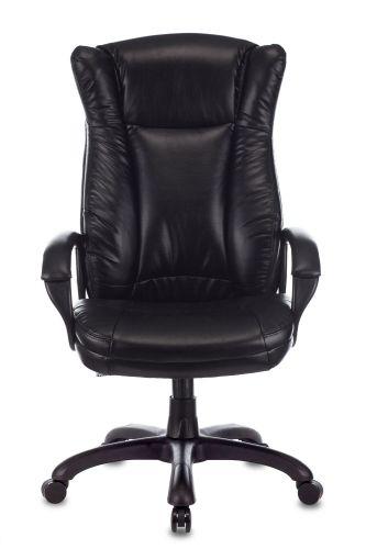 Фото - Кресло Бюрократ CH-879N руководителя, цвет черный Leather Venge Black искусственная кожа крестовина пластик кресло бюрократ ch 605 черное искусственная кожа крестовина металл