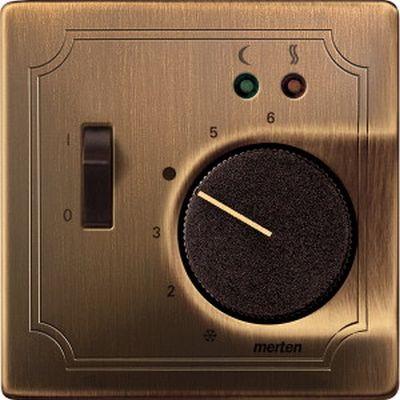 Накладка Schneider Electric MTN537543 Merten регулятора тёплого пола с выключателем, металл, IP20 (античная латунь)