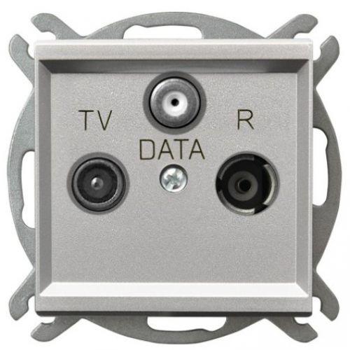 Розетка Ospel GPA-RD/m/38 RTV-DATA, серебро матовое