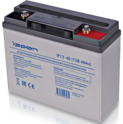 батарея ippon ip12 12 12v 12ah Батарея для ИБП Ippon 1361422 IP12-40 12В 40Ач