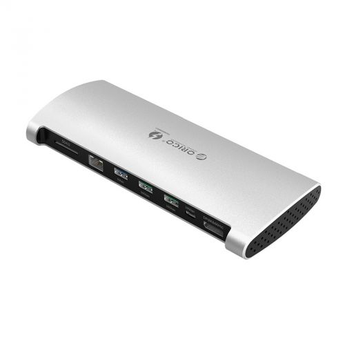 Концентратор USB 3.0 Orico TB3-S1 Thunderbolt 3 (60W), 2*USB 3.1, USB 3.0, USB Type-C, SD-reader, DP, RJ-45, Thunderbolt 3 (15W), серебристый