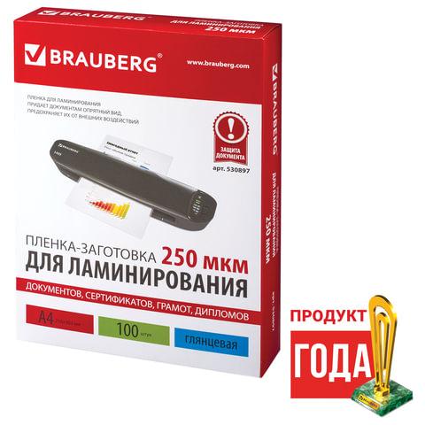 Пленка BRAUBERG 530897 для ламинирования А4, 100 шт., 250 мкм