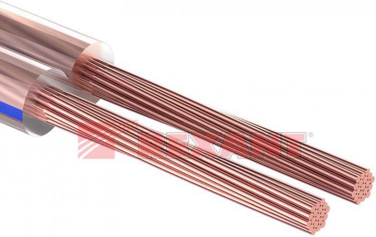 Rexant 2х1.00 мм², прозрачный BLUELINE, 100 м.