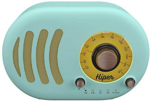 Портативная акустика HIPER RETRO S Cyan H-OT4 5 ВТ, 60 Гц - 18 кГц, 1800 мАч, BT 5,0, Hands-free, Micro-USB