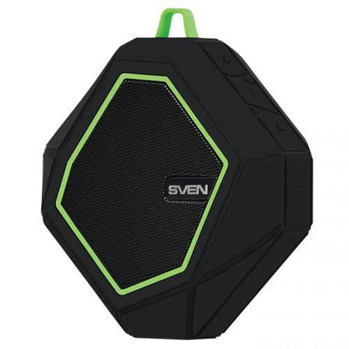 Портативная акустика Sven PS-77 SV-016463 5 Вт, встроенный аккумулятор, FM-тюнер, Bluetooth, microSD, черный с зеленым