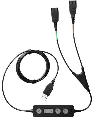 Адаптер Jabra Link 265 265-09 для обучения Supervisor Y-шнур, USB на 2xQD, модуль управления и mute на шнуре