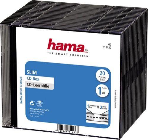 Коробка для CD/DVD HAMA 1CD/DVD H-11432 00011432 Slim Box (упак.:20шт)