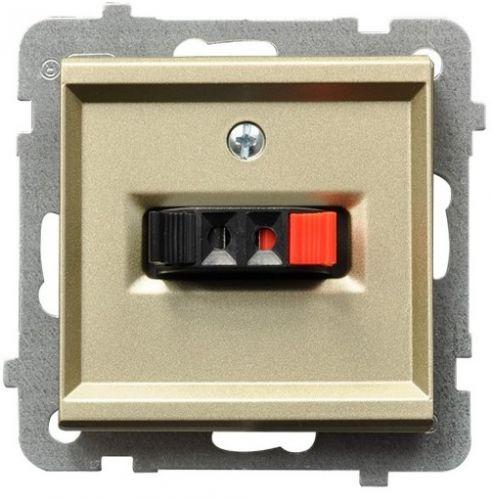 Розетка Ospel GG-1R/m/39 для динамиков, одинарная, подключаемость проводов 0, 75мм2, шампанский золотой