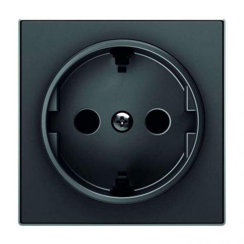 Накладка ABB 2CLA858800A1501 для розетки SCHUKO, чёрный бархат накладка abb 2cla851810a1501 для 1 го суппорта разъёма типа 2017 или 2018 со шторками и полем для надписи чёрный бархат