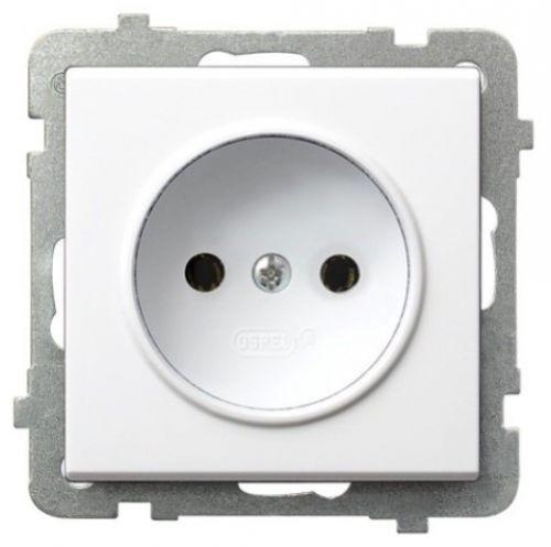 Розетка Ospel GP-1R/m/00 одинарная, 16A, 250V, IP-20, клеммы винтовые, белый