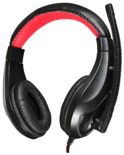 Гарнитура проводная Oklick HS-L100 NO-530 черный/красный, 2 м, мониторы, оголовье