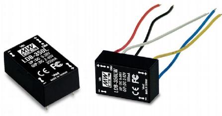 Драйвер светодиодный Mean Well LDB-350L Входное напряжение 9-36 В, выходное напряжение 2-40 В, выходной ток 350 мА. Для установки на печатную плату, т