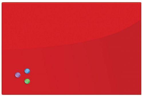 Доска BRAUBERG 236749 магнитно-маркерная стеклянная 60х90 см, 3 магнита, красная brauberg 45x45 см розовая 3 магнита 236742