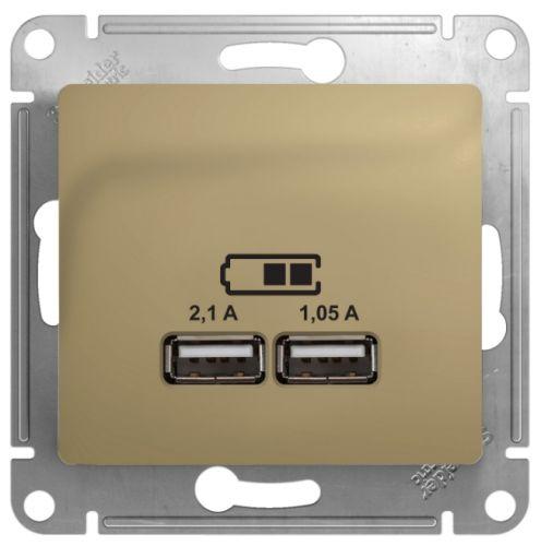 Розетка Schneider Electric GSL000433 Glossa USB 5В/2100мА, 2х5В/1050мА титан