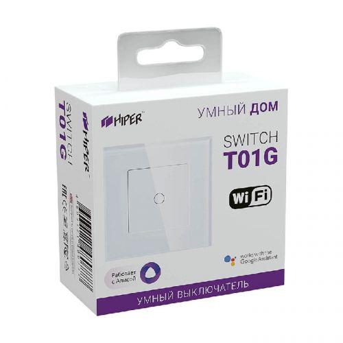 Выключатель HIPER IoT Switch T01G Wi-Fi 2,4 ГГц, IEEE802.11b/g/n, AC 100-240В, 50Гц, 600Вт для ламп накаливания, до 150 Вт для LED ламп, серый