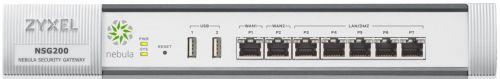Межсетевой экран ZYXEL NSG200 Nebula, с управлением в облаке, Rack, 2xWAN GE, 5xLAN GE, 2xUSB, IDP, патруль приложений (DPI), VPN (IPSec, L2TP over IP
