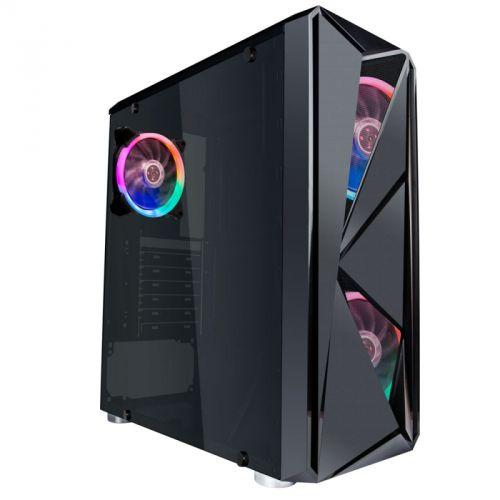 Корпус ATX 1STPLAYER FIREROSE F4 F4-3R1 черный, без БП, окно из закаленного стекла, 2*USB 2.0, USB 3.0, audio