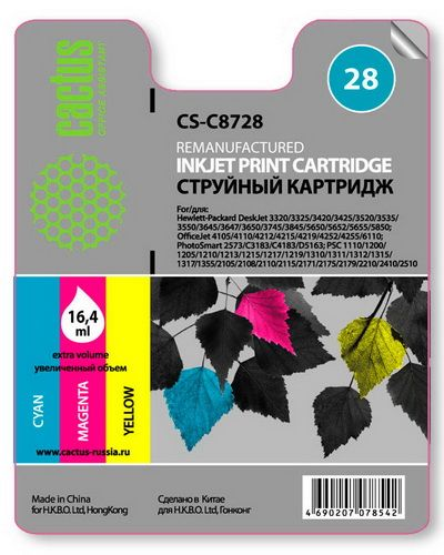 Картридж Cactus CS-C8728 №28 (трехцветный) для HP DeskJet 3320/3325/3420/3425/3520/3535/3550/3645/3647/3650/3745/3845/5650/5652/5655/5850; OfficeJet 4