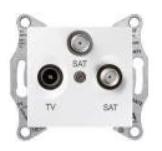 Розетка Schneider Electric SDN3502121 Sedna телевизионная RTV/SAT/SAT проходная, 8дБ, в рамку (белая)