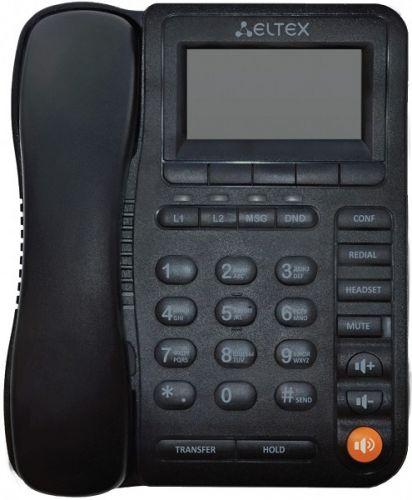 Телефон ELTEX VP-12 2 SIP аккаунта, 2x100M, ЖК дисплей