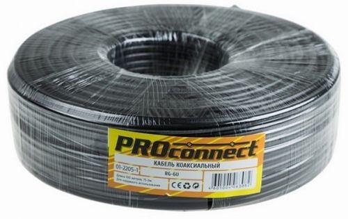 Фото - Кабель PROconnect 01-2205-1 RG-6U (75 Ом), CCS/Al/Al 48%, бухта 100м, черный, OUTDOOR кабель rexant rg 6u cu 75% 75 ом 100м белый 01 2223