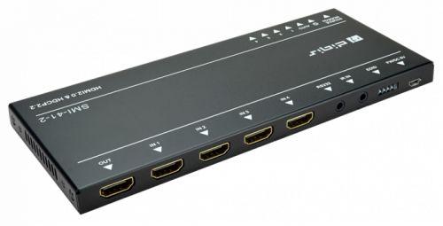 Коммутатор Digis SMI-41-2 HDMI 4x1, 4K 60Гц 4:4:4 (HDR), HDMI 2.0 (18Гб/с), HDCP 2.2. Управ. RS232 (3.5мм mini jack), IR. 18 Гбит/с. 4K 60Hz 4:4:4 (пе